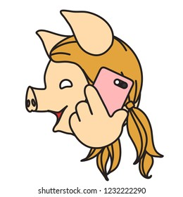 emoji with pig woman that is talking on the modern smartphone or mobile phone, simple hand drawn emoticon, simplistic colorful picture, vector art with pig-like characters