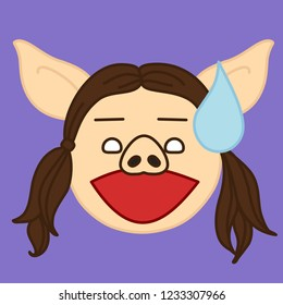 emoji with pig woman with a water drop above her head expressing that she got caught, simple hand drawn emoticon, simplistic colorful picture, vector art with pig-like characters