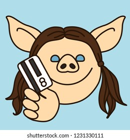 emoji with pig woman who is going to pay merchant for some service or goods with her credit card, cardholder charging money from ATM or paying with payment card using POS terminal system