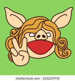 """emoji with pig woman who is showing a """"V for victory"""" or """"peace"""" gesture with two fingers, simple hand drawn emoticon, simplistic colorful picture, vector art with pig-like characters"""