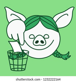 emoji with pig woman who is showing where to recycle garbage paper by throwing it into a busket, pointing her finger to eco friendly recycler, simple hand drawn emoticon, simplistic colorful picture