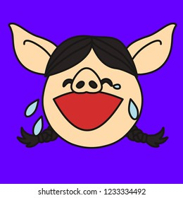 emoji with pig woman who's face is expressing laughter or joy, happily crying female character, simple hand drawn emoticon, simplistic colorful picture, vector art with pig-like characters