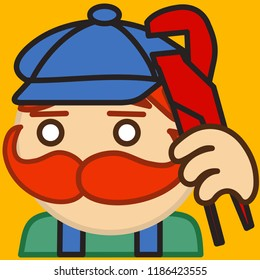 emoji with plumber with mustache that is wearing overalls and a peaked cap holding an adjustable wrench tool, simple colored emoticon, simplistic colorful pictogram, funny cartoon character from a set