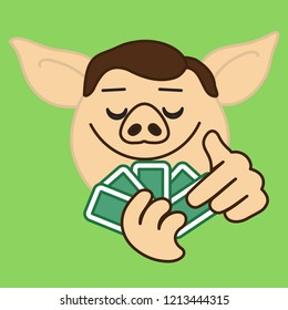 emoji with poker card game player pig that is holding a pack of cards with satisfied face, gambler having a good combination like royal or straight flush or full house & anticipating a win