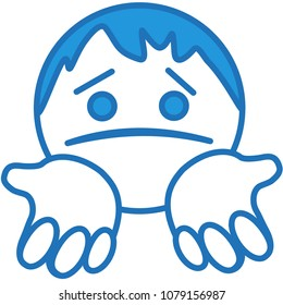 emoji with poor sorry man standing on his knees & begging for help or mercy or asking for forgiveness with stretched palms & upset & miserable expression on his face with pulled down lip corners