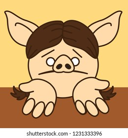 emoji with poor sorry pig woman that is standing on her knees & begging for help or mercy or asking for forgiveness w. stretched palms & upset & miserable facial expression w. pulled down lip corners
