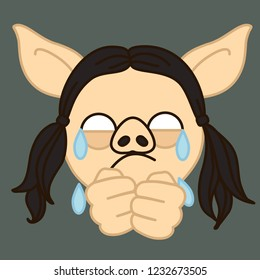 emoji with poor upset pig gal that weeps and cries with tear drops running on her hands because she is devastated by troubles in life, simple hand drawn emoticon, simplistic colorful picture