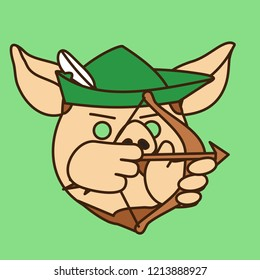 emoji with Robin Hood pig shooting arrow from bow,classic folk character wearing medieval English hat,famous thug that lived in Sherwood forest of Nottinghamshire during dark ages of England