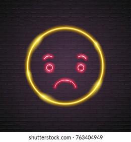 Emoji Sad Neon Light Illustration Graphic