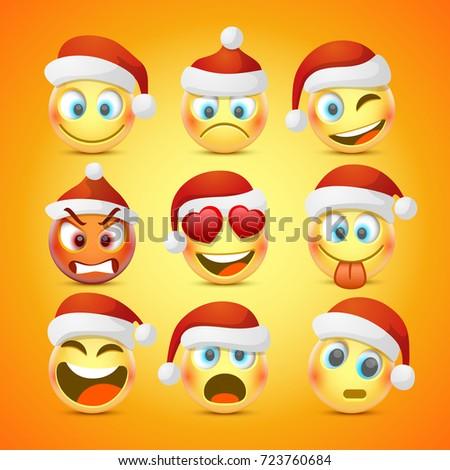 emoji and sad new year hat icon set vector illustration