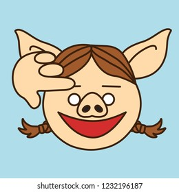 emoji with saluting pig woman that shows her respect by touching her head or forehead with right hand, salute gesture formed by finger placed on temple, simplistic colorful picture