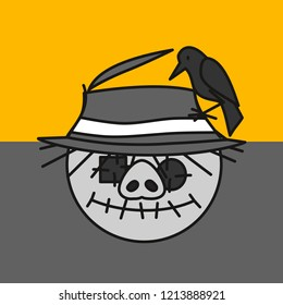 emoji with scarecrow pig made out of old fabric with eye patches and stitched mouth with crow sitting on its worn straw hat during sunset, simple hand drawn emoticon, simplistic colorful picture