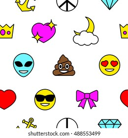 Emoji Seamless Pattern. Emoticons - Happy poop, Alien, Love, Anchor, Diamond, Crown, Peace, Ribbon, Sun Glasses.