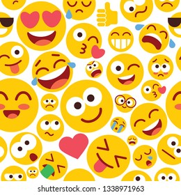 Emoji seamless pattern on a white background. Set of Emoji with different emotions. Funny cartoon colorful character