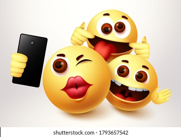 Emoji selfie friends taking groupie vector characters. Emoji of friendship emoticon in happy smiling, funny and kissing facial expression in white background. Vector illustration.