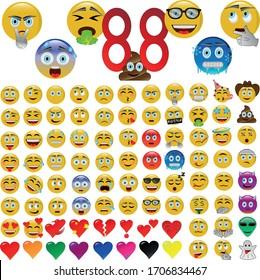 Emoji, set of advanced emoticons, icons in vector illustration.