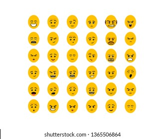 Emoji Set Collection in Modern flat Style. Design Art Trendy Communication Funny flat Emoji icons round faces Feedback with different emotions. illustration set Isolated on white background