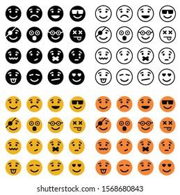 Emoji set. Emoticon, emojis symbols digital chat objects vector icons set -