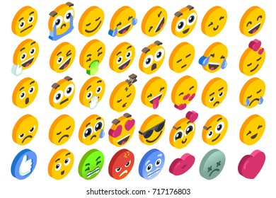 Emoji Set emoticon reactions. Vector EPS 10 3D flat design isometric icons hearth angry or smile face and like button.