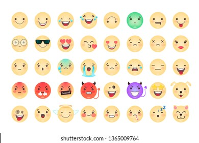 Emoji set. Funny, sad, angry, in love, smile. 40 isolated faces
