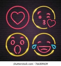 Emoji Set Neon Light Glowing Vector
