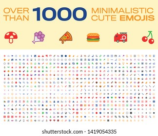 Emoji Set. Over Than 1000 emoticons. All type emojis, Vector Flat icons