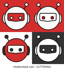 emoji with a set of red, white & black colour variations of cute retro robot or chat bot with glowing eyes, antennas & a helmet, simple colored emoticon, simplistic colorful pictogram