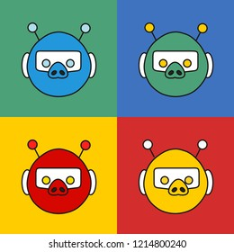 emoji with a set of red, yellow, green & blue color variations of cute toy retro robot pig bot with glowing eyes, antennas & a helmet, simple hand drawn emoticon, simplistic colorful picture