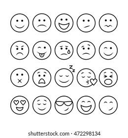 Emoji set. Set of thin line emoticons isolated on a white background. Vector illustration