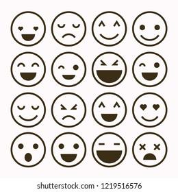 Emoji set. Set of thin line smile emoticons isolated on a white background. Vector illustration