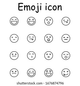 Emoji set. Set of thin line smile emoticons icon vector illustration simple design