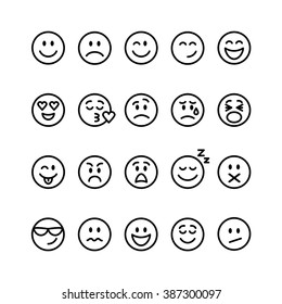 Emoji set. Set of thin line smile emoticons isolated on a white background. Vector illustration