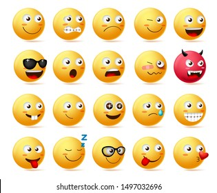 Emoji side view set vector. Emoticon or icon face character in sad, scared, demon, shocked and happy emotion wearing sunglasses isolated in white background. Vector illustration.