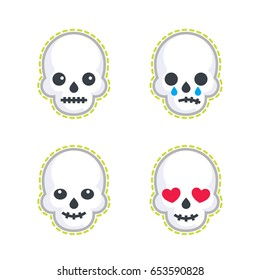 emoji with skulls on white