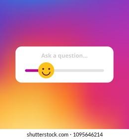 Emoji slider on the modern trendy styled gradient background. Vector illustration. Socila network communication background and itme.