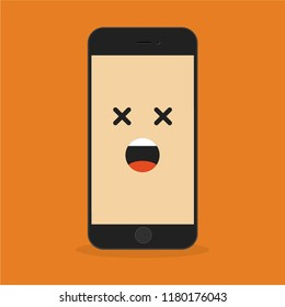 Emoji smartphone with surprised  emotion on bright background. Smiling mobile phone character. Smile emoticon face in cellphone. Flat vector illustration design.