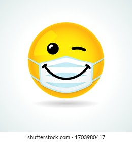 Emoji smile face with guard mouth mask. Yellow winking emoticon wearing a white surgical mask. Vector wink icon