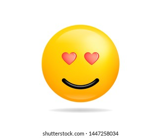 Emoji smile icon vector symbol. Love face With Heart Eyes yellow cartoon character.