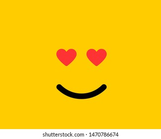 Emoji smile icon vector symbol on yellow background. Love face cartoon character wallpaper.