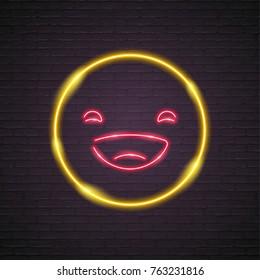 Emoji Smile Laugh Neon Light Graphic Yellow Colour