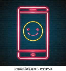 Emoji Smile with Phone Symbol Neon Light Glowing Graphic Vector Red Colour Illustration