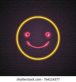 Emoji Smile Symbol Icon Neon Light Glowing Vector Graphic Illustration