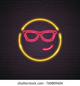 Emoji Smile Symbol Neon Light Vector Graphic Design Silhouette