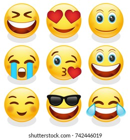 Emoji Smiley Face Vector Design Art Trendy Communication Chat Elements