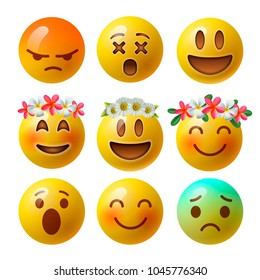 Emoji smiley faces or yellow emoticons in glossy 3D realistic isolated in white background, vector illustration.