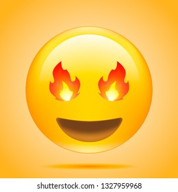 Emoji Smiling Face With Fire-Eyes