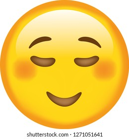 Emoji. Smiling face. Peaceful face. Cute emoticon isolated on white background.