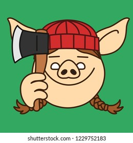 emoji with smiling lumberjack pig woman, female wood chopper or forest logger with heavy beard that is wearing a knitted hat and holding an ax, axe or hatchet, simple hand drawn emoticon