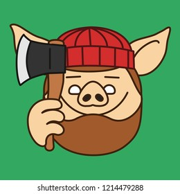 emoji with smiling lumberjack, wood chopper or forest logger pig with heavy beard that is wearing a knitted hat and holding an ax, axe or hatchet, vector emoji drawn by hand in color