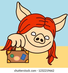 emoji with smiling pig woman who is picking a bag, happy female passanger with luggage just finished registration and went through customs, simple hand drawn emoticon, simplistic colorful picture